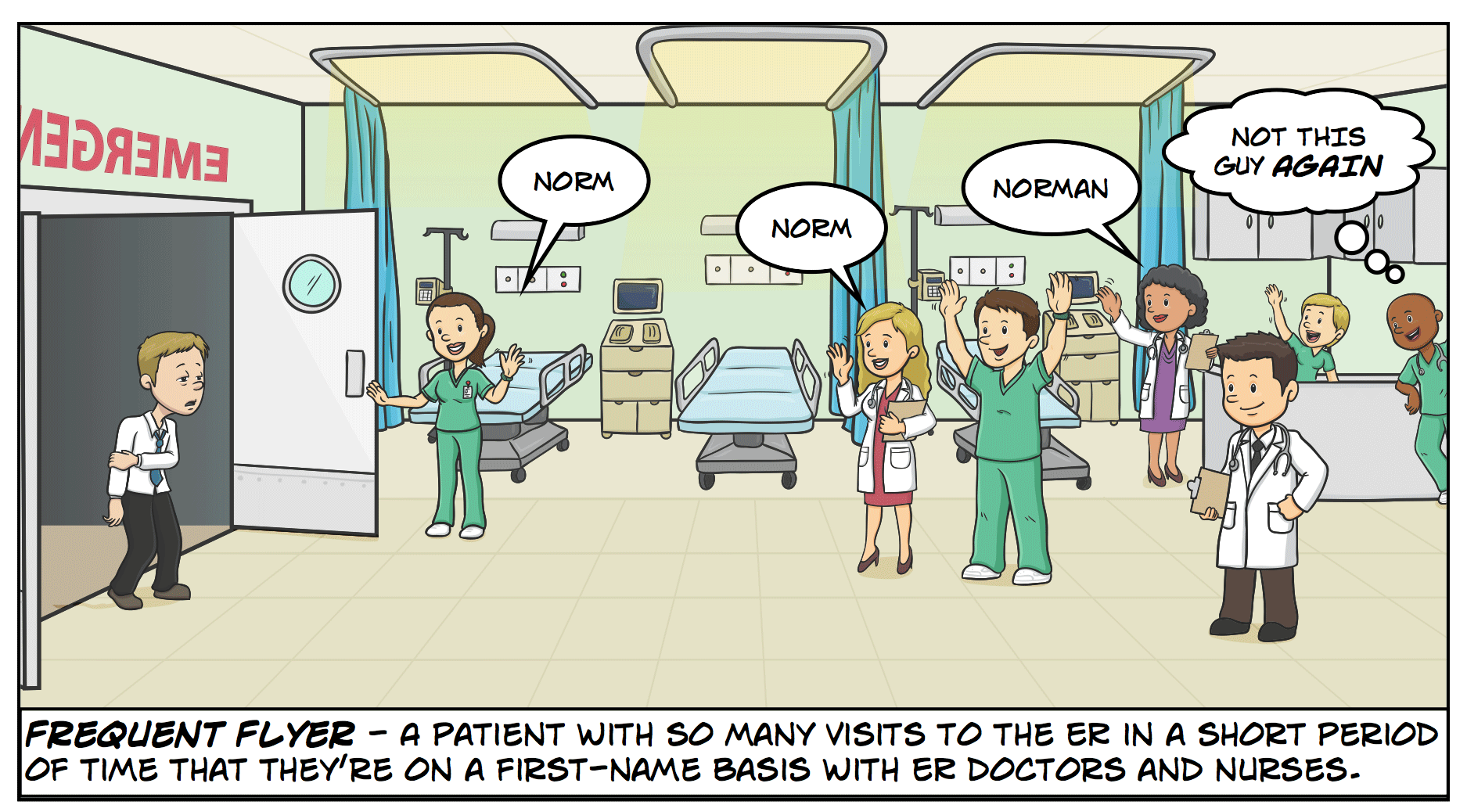 Frequent Flyer - A patient with so many visits to the ER in a short period of time that they're on a first-name basis with ER doctors and nurses.