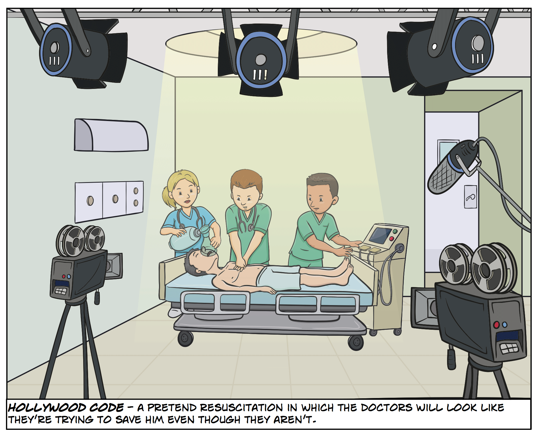 Hollywood Code - a pretend resuscitation in which the doctors will look like they're trying to save him even though they aren't.
